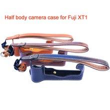 Brand New PU Caméra Sac Dur Cas avec Dragonne Moitié corps Cas Fond de L'appareil pour Fujifilm Fuji XT1 Livraison Gratuite