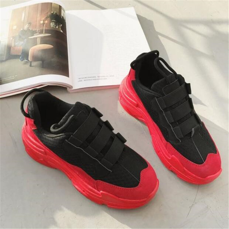 DIWEINI 2019 2018 Leather Mesh Women's Platform Sneakers Fashion Women Red Black Dad Shoes Woman Casual Chunky Trainers