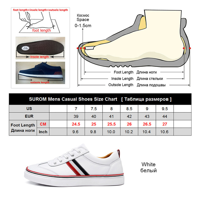 Men Leather Casual White Shoes
