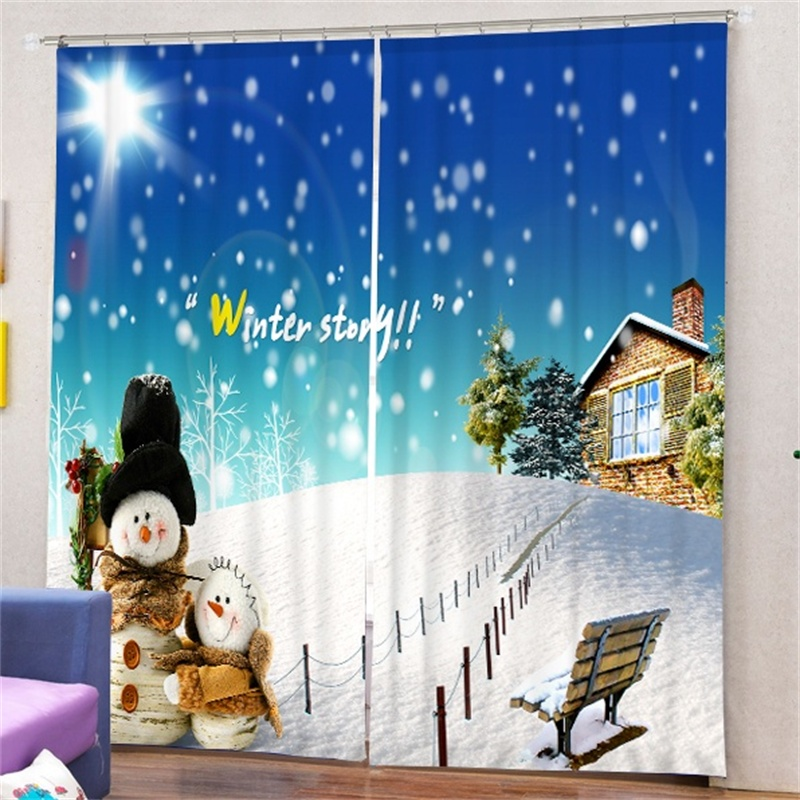 Snowflake Snowman Print Christmas Decor Curtains Living Room Kitchen  Childrenu0027s Bedroom Cartoon Blackout Darkening Drapes