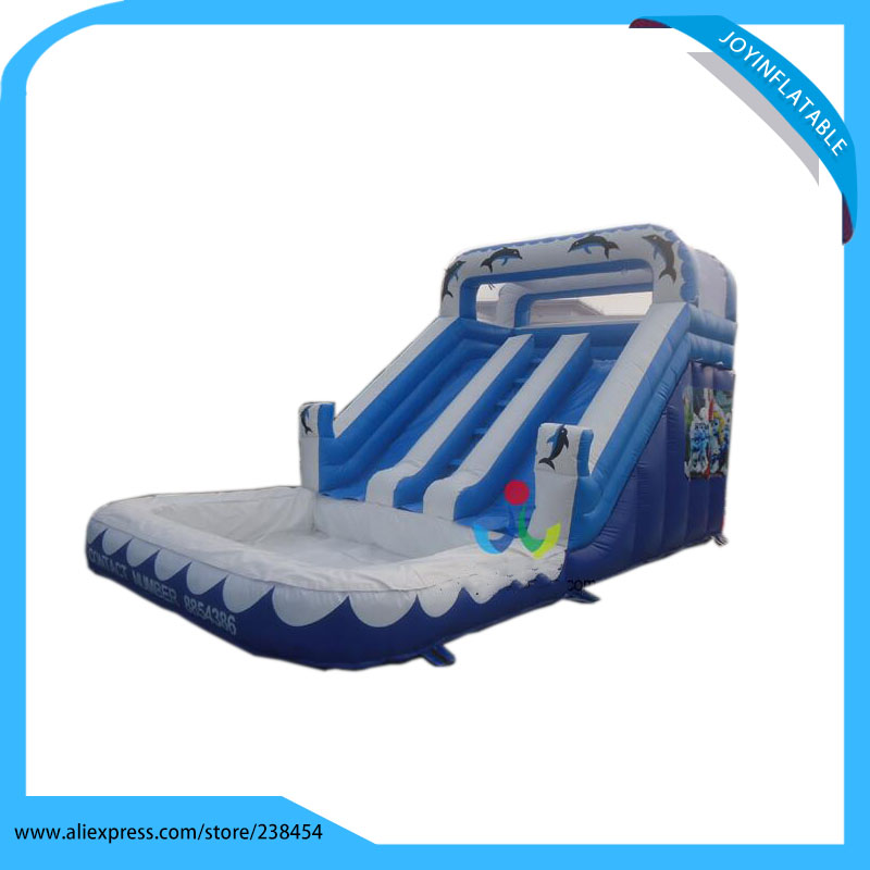 8X4.5M Playground Inflatable Water Slide commercial sea inflatable blue water slide with pool and arch for kids