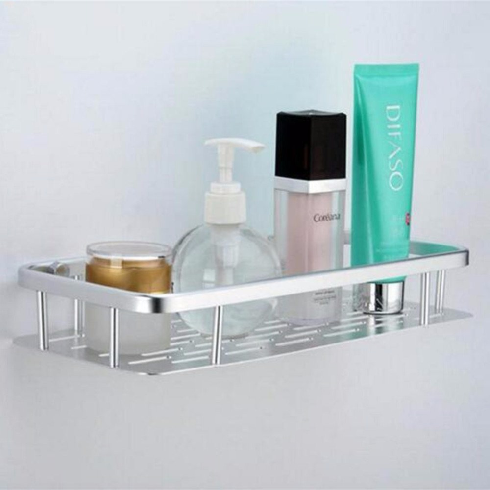simple Antirust Aluminum Wall Mount Shelf Organizer with Hooks ...