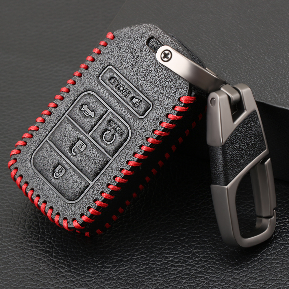 genuine leather  buttons car keyless smart key fob case cover  honda civic accord pilot