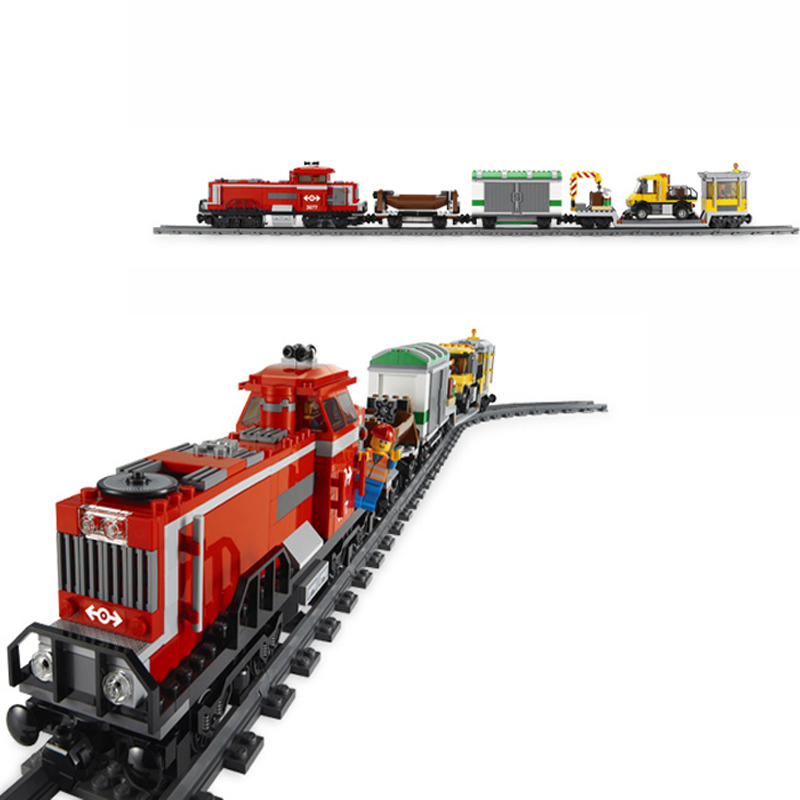 DIY MODEL 898Pcs City RED CARGO TRAIN Model Compatible with Lepins Building Kits Blocks Brick RC Figures Toys for Children Gift 2017 hot sale girls city dream house building brick blocks sets gift toys for children compatible with lepine friends