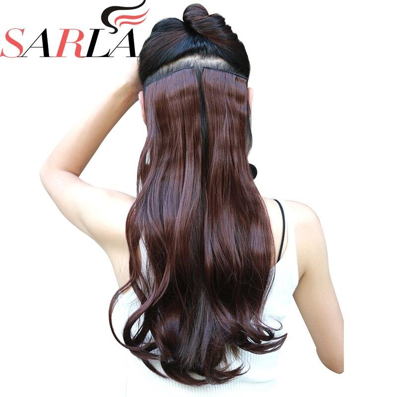 """SARLA bouclé 1Pc 20 """"24"""" 28 """"Clip dans les Extensions de cheveux postiches synthétiques mettre en évidence les cheveux Fiber résistant à la chaleur 23 couleurs disponibles"""