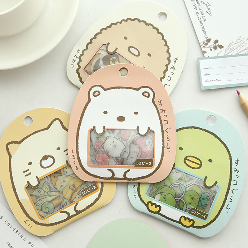50pcs/Pack Sushi Family DIY Adhensive Decorative Sticker Stick Label Computer Decor School Student Stationery Kid Gift