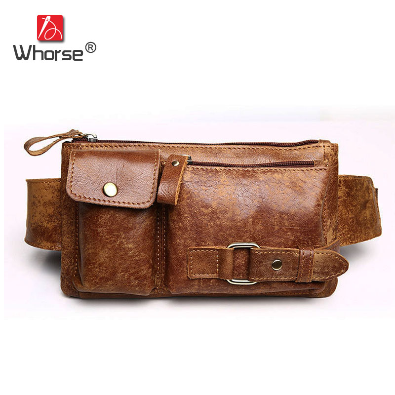 [WHORSE] Brand Vintage Casual Genuine Leather Men Waist Pack Hiqh Quality Men's Travel Bags Cowskin Belt Chest Bag W81350