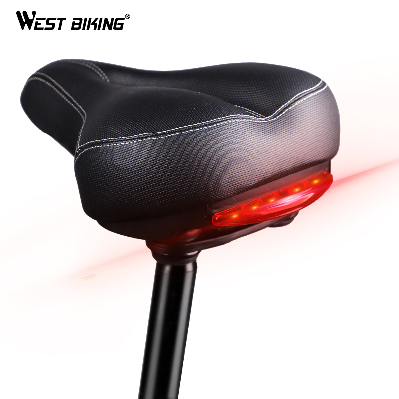 WEST BIKING Big Butt Bicycle Saddle MTB Cycling Seat Mat Sponge Cushion With Warning Taillight Breathable
