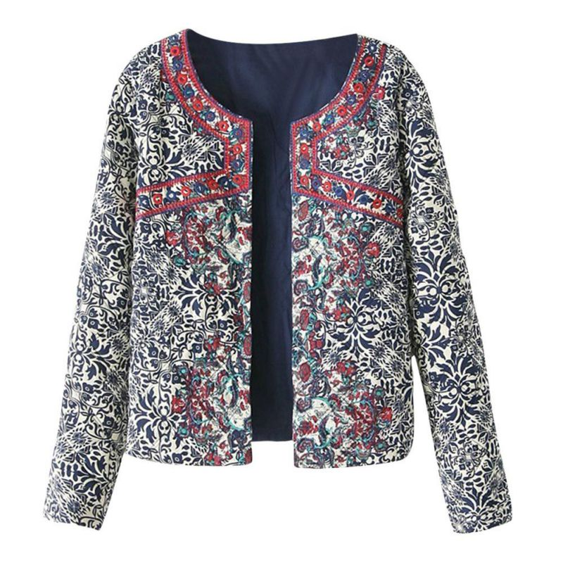 2018 spring autumn Embroidered Coat Retro Print Blue White Round Neck Full Sleeve Jacket Female  For Women Embroidery Slim tops