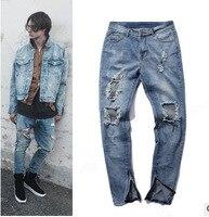 2017 High Street Vintage Ripped Blue Denim Jeans Best Version Men Destroyed Hole Kayne West Skinny Slim Fit Pants