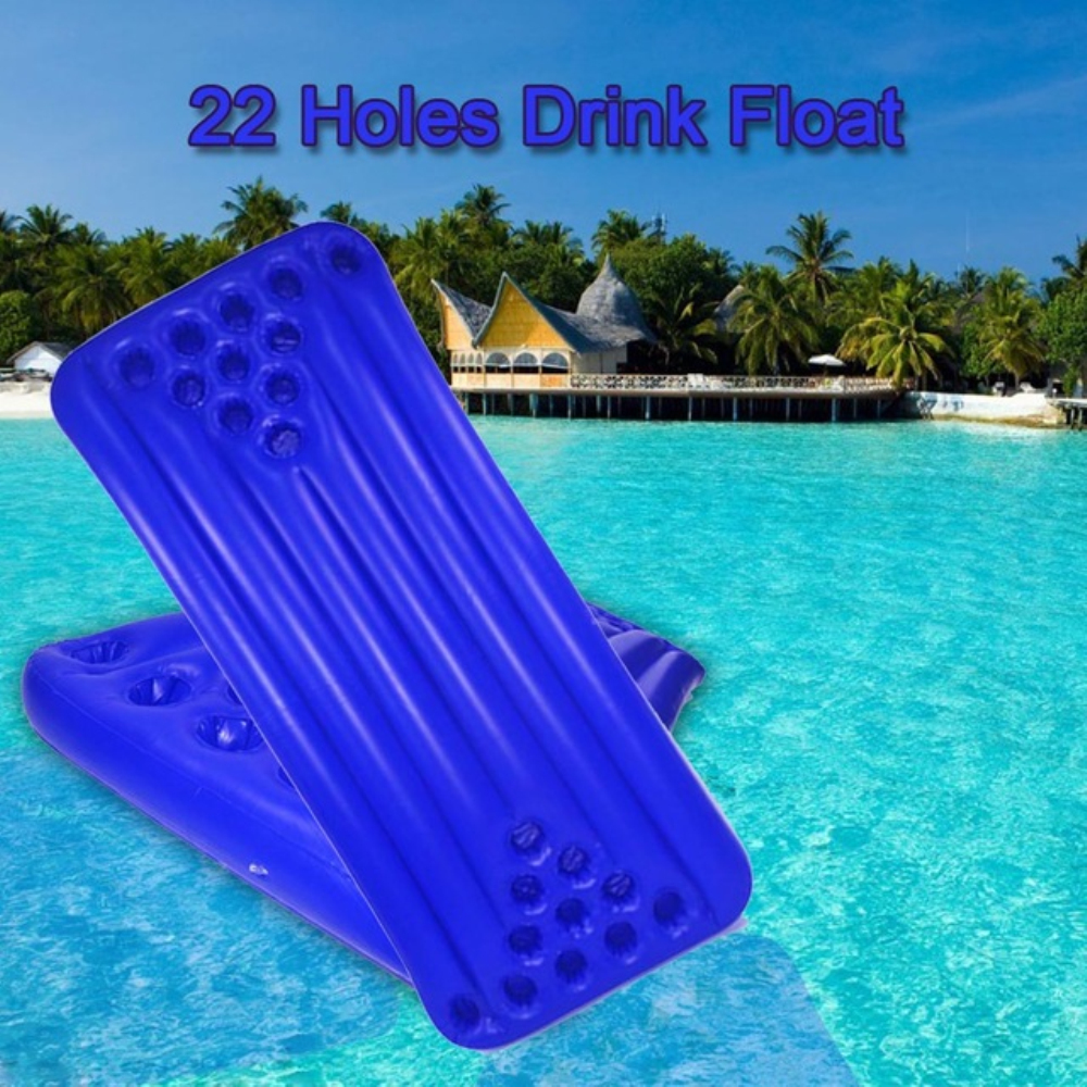 JIAINF Inflatable Blue 22 Holes Drinks Float Rectangle Swim Float Cup Holder Party Toys Water Mattress For Cups Drinks
