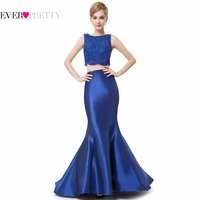 Free Shipping Fast Shipping Ever Pretty 8434 Fashion Two Pieces Set Long Blue Mermaid Dress For