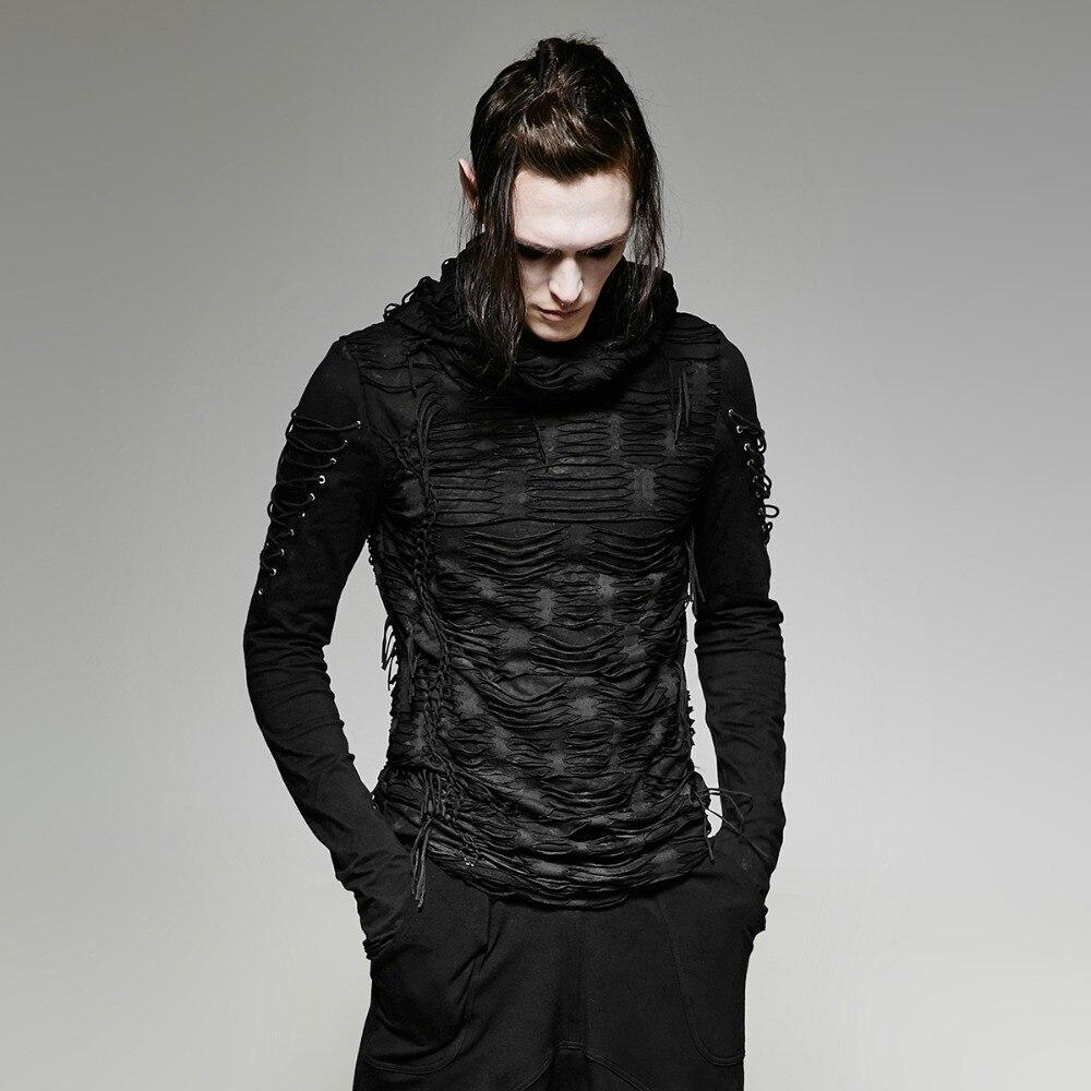 Gothique Foncé Noir Mystérieux Trou À Capuche T-shirt pour Hommes