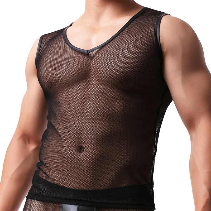 Seksi Örgü Erkek Iç Çamaşırı Erkek Fanila Iç Çamaşırı Şeffaf Fanila Tee Gömlek Eşcinsel Ince Erkek Üstleri Nefes Clubwear