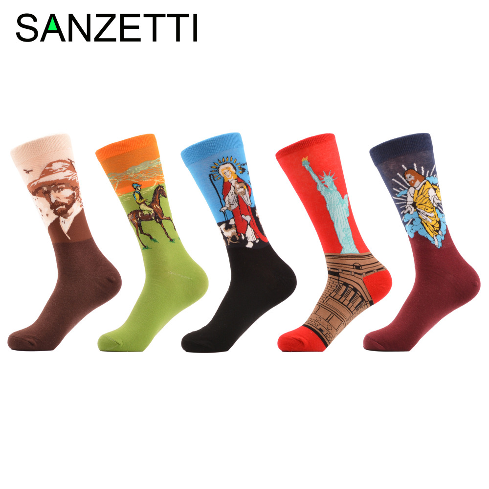 SANZETTI 5 pairs/lot Colorful Mens Funny Combed Cotton Oil Painting Crew Socks Streetwear Fashion Male Causal Wedding Socks