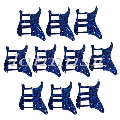 10pcs guitar pickguard 3 ply 11 holes HSH for strat replacement blue pearl or Red Pearl or Black guitar single coil pickup mounting ring 3 ply red pearl celluloid