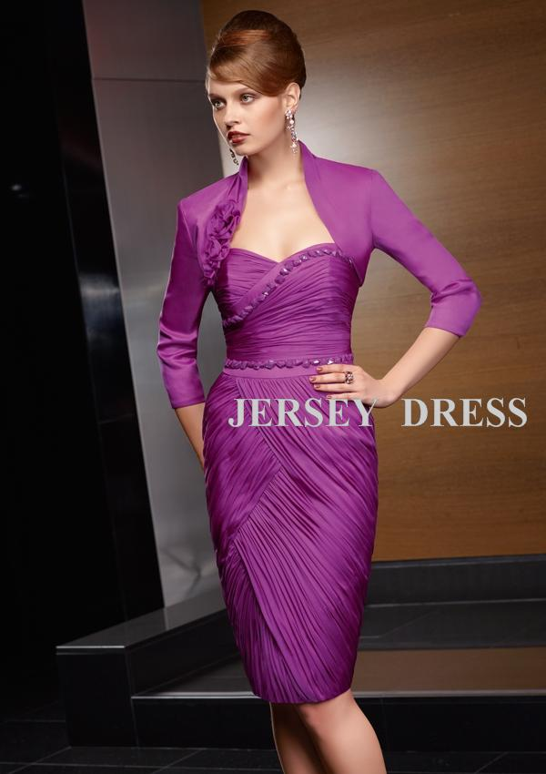 Free Shiping 2015 Woman Dress Design Bridal Formal Gown Short  Purple Custom Mother Of The Bride Dresses With Long Sleeve Jacket