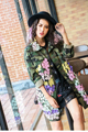 Melinda Style 2017 new women fashion trench flower decorated army jacket outwear free shipping