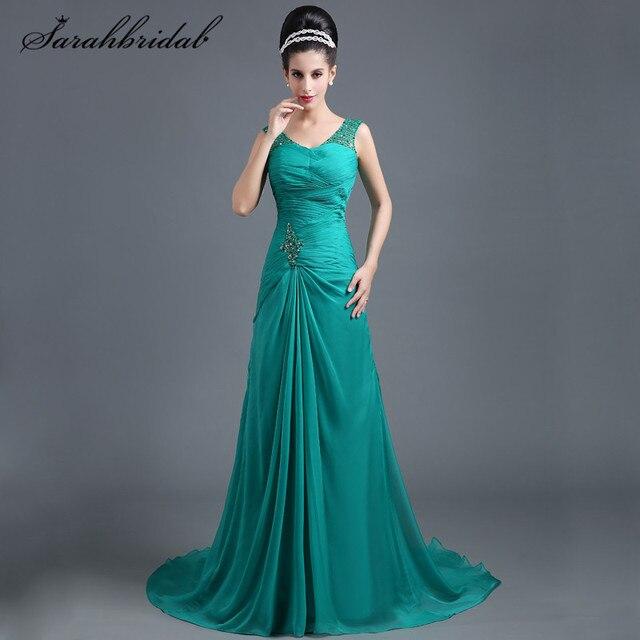 aa4126ed03c Дешевые длинное вечернее платье с Sexy v-образным вырезом Танк пол Длина  Зеленый шифон Pleat