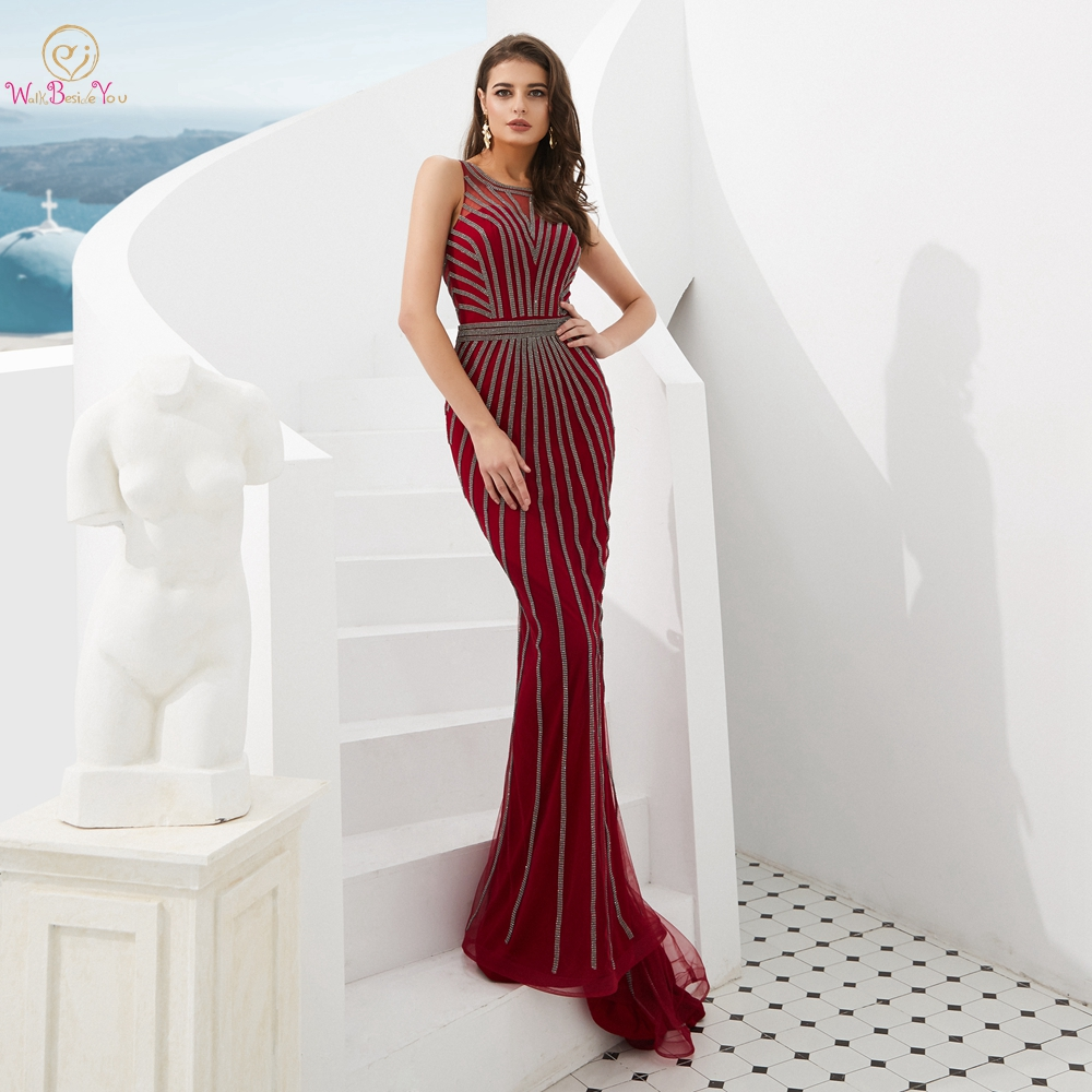 Evening Dresses Formal 2019 Prom Gowns Wine Red/ Gold Mermaid Long Sleeveless Crystal Luxury Trail Ladies Party Dresses Elegant