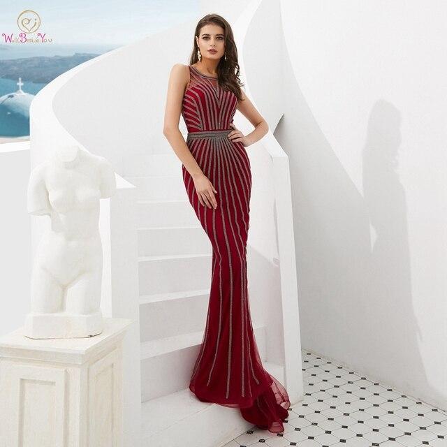 Suknie wieczorowe formalne 2020 suknie na bal maturalny wino czerwone/złote syrenka długa, bez rękawów Crystal Luxury Trail Ladies sukienek eleganckie