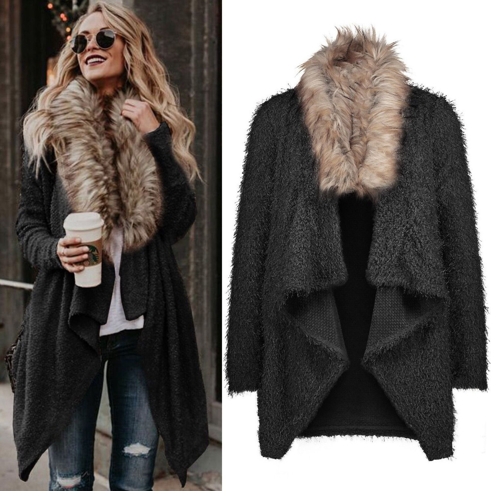 2018 Fashion Autumn Cardigan Plush Jacket Women Long
