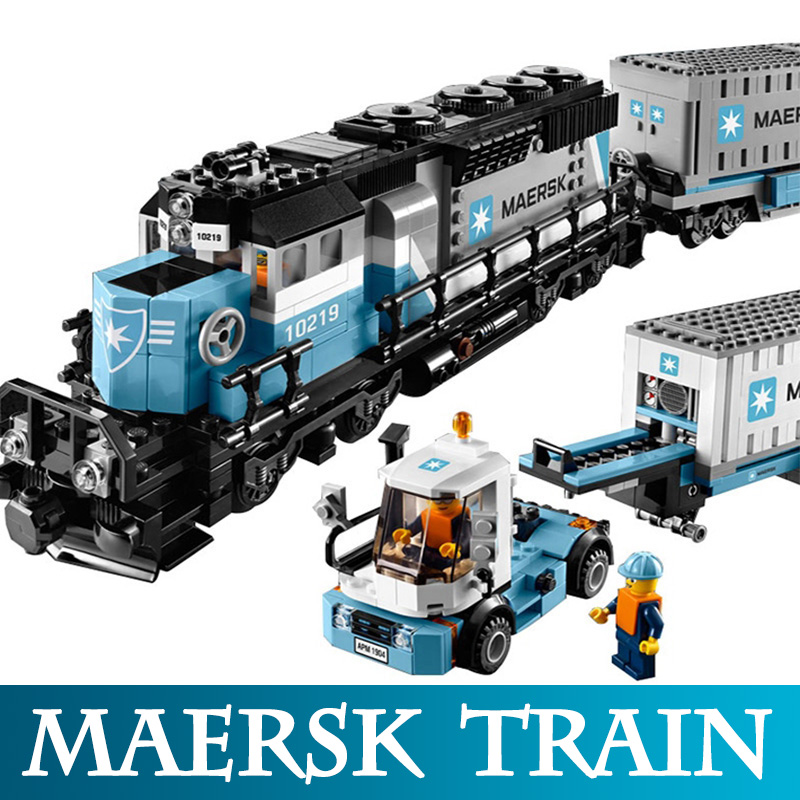 Genuine Technic 21006 1234pcs The Maersk Train model building Blocks Compatible LegoINGLYS 10219 Train Bricks Educational Toys 1234pcs creator maersk trains freight cargo locomotive 21006 classical diy model building kit blocks toys compatible with lego