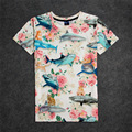 Hot Sharks and Cats and Roses 3D Print T-shirt Cotton Unisex Summer Tee Shirts Teen Fans Loose Homme Tops cat riding on shark