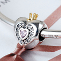2016 Jewelry 925 Sterling Silver Bead for Bracelets Heart Charm with Crown Pink and Clear Zircon as Gift for Lovers Women Bijoux