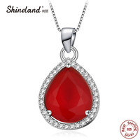 Shineland 2017 New Arrival Red Green Stone With 925 Sterling Silver Fashion AAA Zircon Waterdrop Women