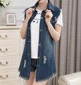 2016 Verano de Las Mujeres Azules Jeans Frazzle Chalecos de Mezclilla Capa Femenina de la Chaqueta Sin Mangas Chaleco de La Manera Sin Mangas Del Chaleco de La Rebeca