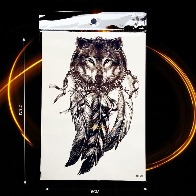 Sketch Indian Wolf Dreamcatcher Tattoo Sticker Waterproof Black Fake