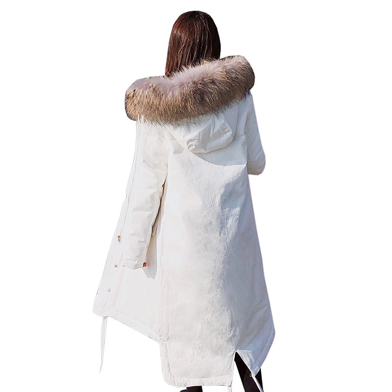 2018 Raccoon Fur Winter Women   Down   Jacket Slim Hooded   Coat   90% White Duck   Down     Coat   Fashion Long Jacket Warm Snow Parkas Outwear