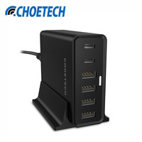 CHOETECH USB Type C Phone Charger with Holder for Samsung Galaxy s8 USB Chargers Multi Desktop Charger Adapter US/UK/EU Plug