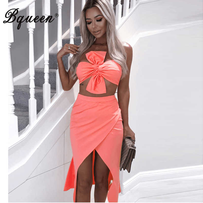 Bqueen Sexy Women Bandage 2 Piece Sets Sexy Strapless Spaghetti Strap Backless Bow Tops Mini Solid Skirt 2019