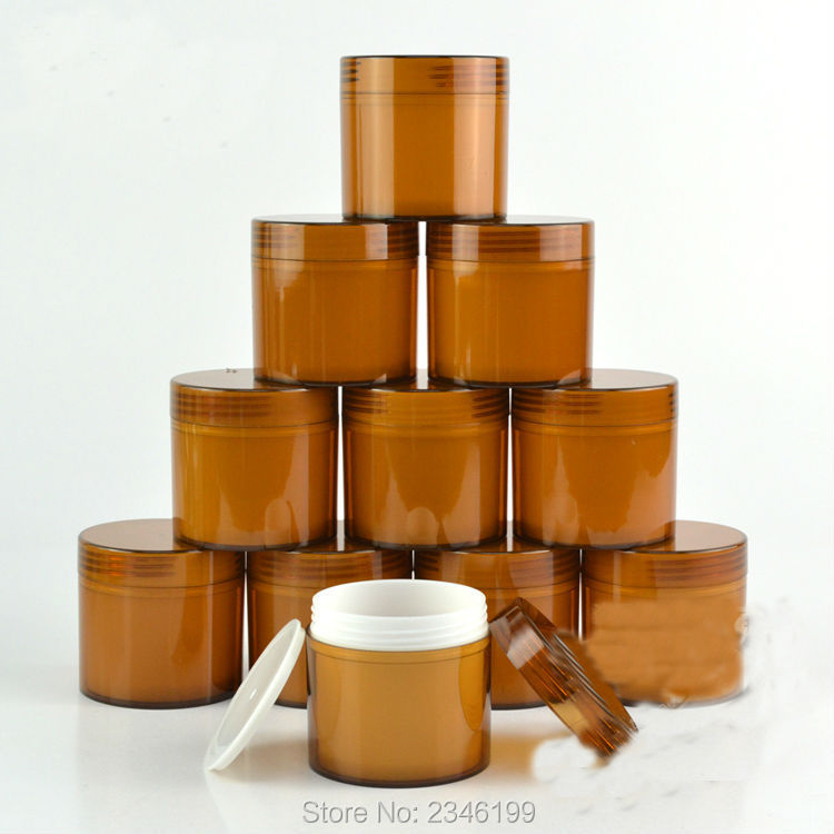 100G 100ML Brown Cream Jar Big Volume Plastic Cosmetic Skin Care Cream Pot With White Plastic