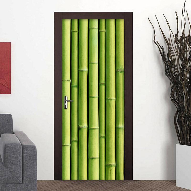2Pcs/set 3D PVC Self-adhesive Removable Door Sticker Green Bamboo Photo Wallpaper For Living Room Bedroom Door Mural Wall Decals