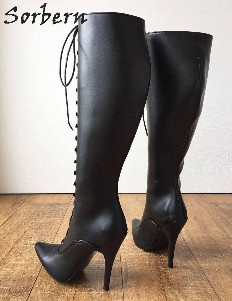 12 Cm Pfennigabsatz Schnürung Benutzerdefinierte Shalf Breite Wadengröße Stiefel Frauen Harte Welle Knie Hallo Spitz Vintage Style Fetisch