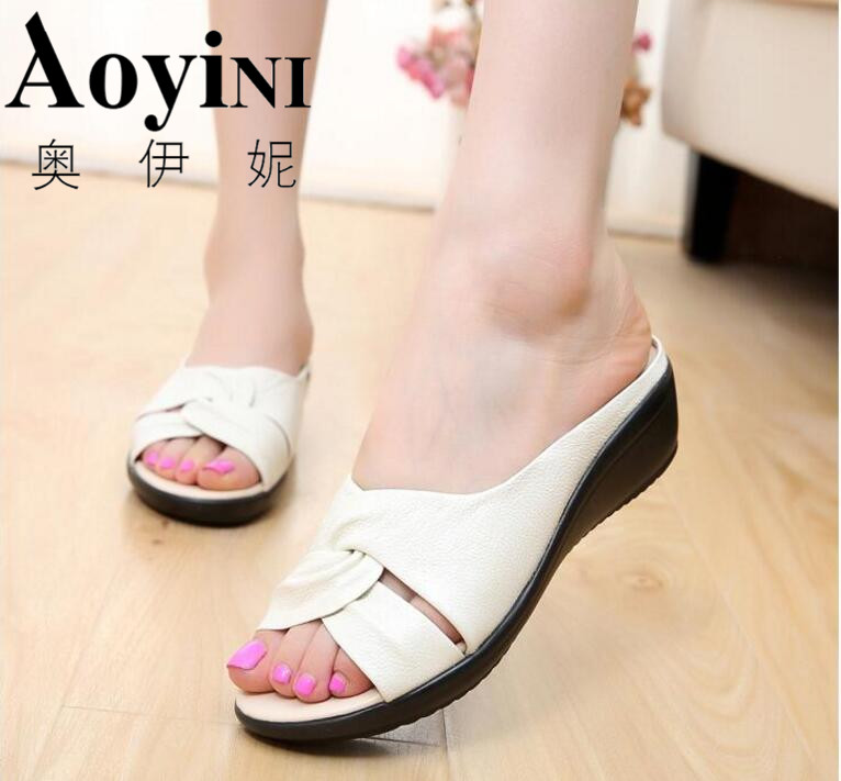 Hot 2017 Summer New Leather Wedges Sandals Comfort Mother Shoes Woman Platform Flip Flops Slip On Creepers Flats Plus Size 35-43