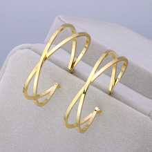 35mm Diameter Big Multilayer Hoop Earrings For Women Statement Metal Round Earrings Gold-Color Party Jewelry Brincos Accessories