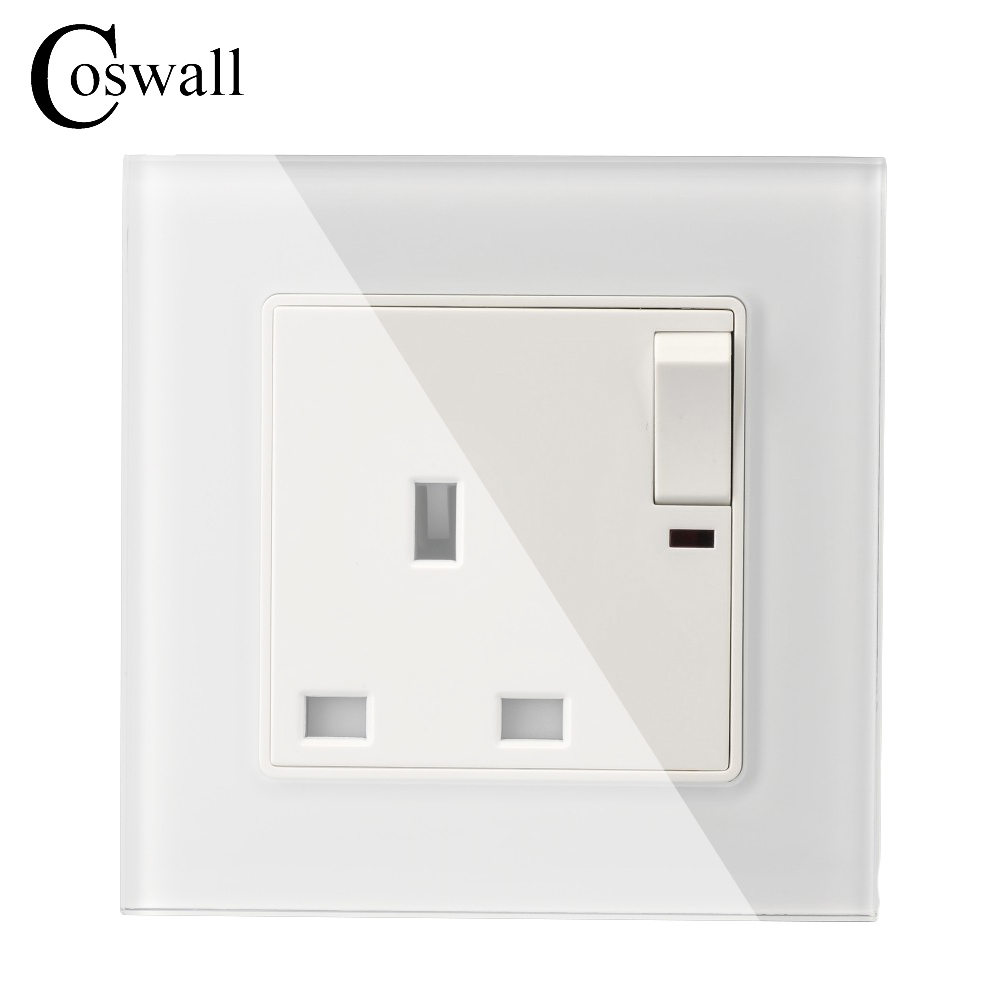Wall Crystal Glass Panel Power UK Socket, 13A British Standard Electrical Outlet Switched 86mm * 86mm With Indicator uk socket wallpad crystal glass panel 110v 250v switched 13a uk british standard electrical wall socket power outlet uk with led