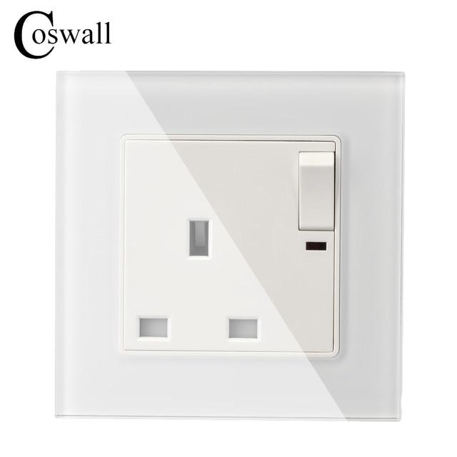 Wall Crystal Glass Panel Power UK Socket, 13A British Standard ...