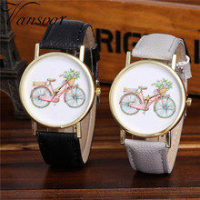 Vansvar Watch Candy Color Bike pattern Male And Female Strap Wrist Watch Stylish Unique Design Simple Style Watch M24