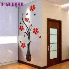 Kakuder  DIY Vase Flower Tree Crystal Arcylic 3D Wall Stickers Decal Home Decor 80*40cm #10 2016 Gift Drop