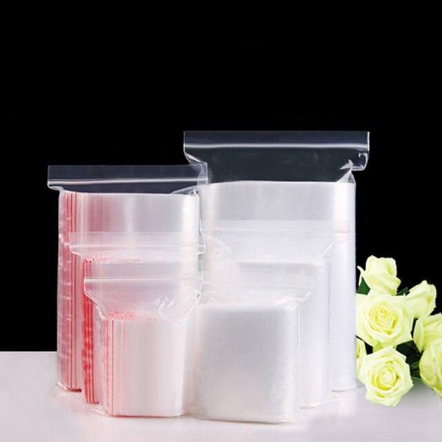 100 unidades/pacote Jóias Ziplock Zip Com Fecho de Bloqueio Reclosable Plástico Poly Limpar Sacos de Armazenamento de Espessura 0.05mm/0.12mm
