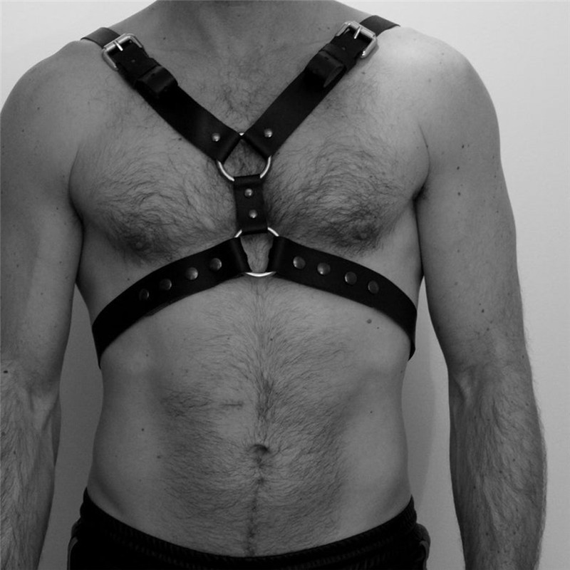 Sexy Men Harness Straps Leather Adjustable Belt Body Chest Harness Bondage Cage Night Club Cosplay Rivet Belt Restraint Harness