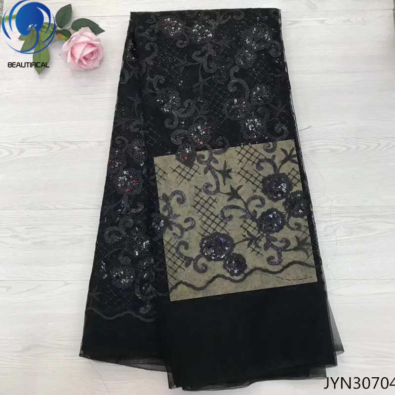 Beautifical new design sequin lace fabric 2018 high quality french mesh lace fabrics with sequins for women 5yards/lot JYN307Beautifical new design sequin lace fabric 2018 high quality french mesh lace fabrics with sequins for women 5yards/lot JYN307