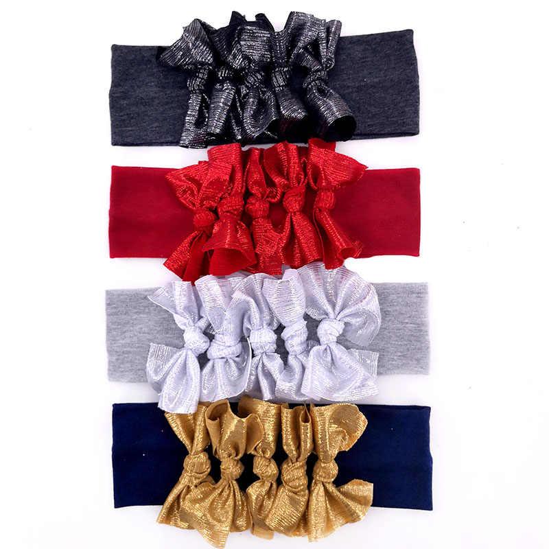 Bébé filles métallique noué arcs coton bandeaux nouveau été mince Stretch bandes de cheveux accessoires cadeaux de fête pour les enfants en bas âge