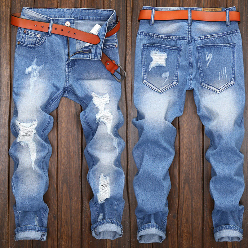 France Style Men Hole Slim Moto Biker Jeans Straight Slim Fit Denim Pants Distressed Blue