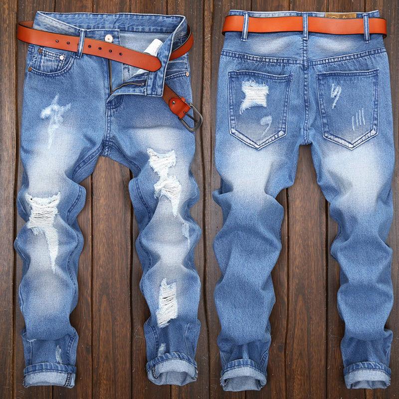 France Style Men Hole Slim Moto Biker Jeans Straight Slim Fit Denim Pants Distressed Blue